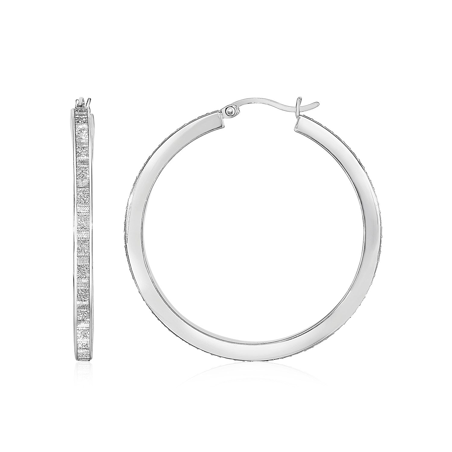 Glitter Textured Tube Hoop Earrings in Sterling Silver