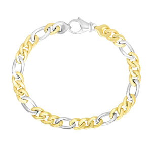 Luxury Italian Style 14K Two-Tone Gold Men's Figaro Link Style Bracelet