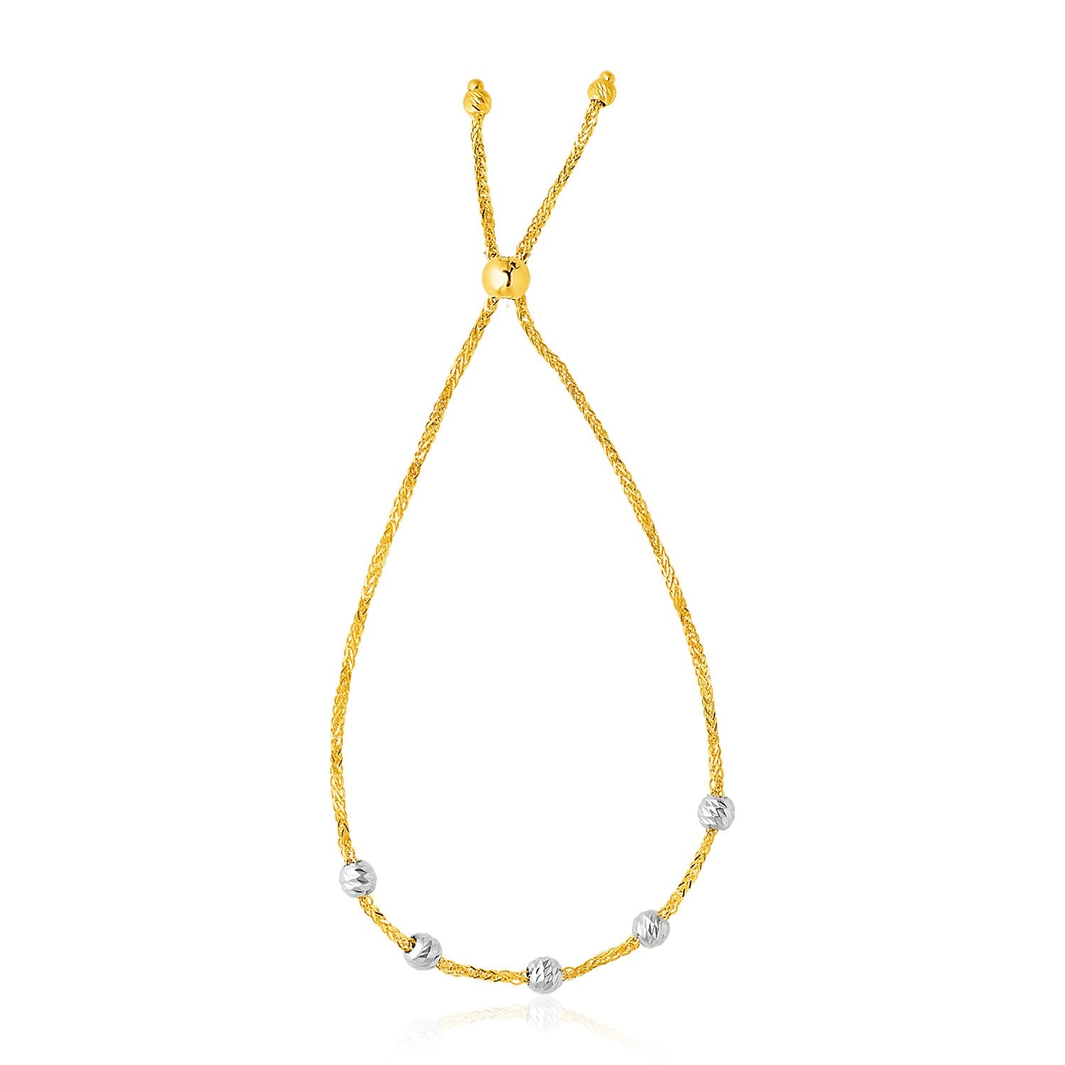 14K Two-Tone Gold Textured Round Bead Lariat Chain Bracelet