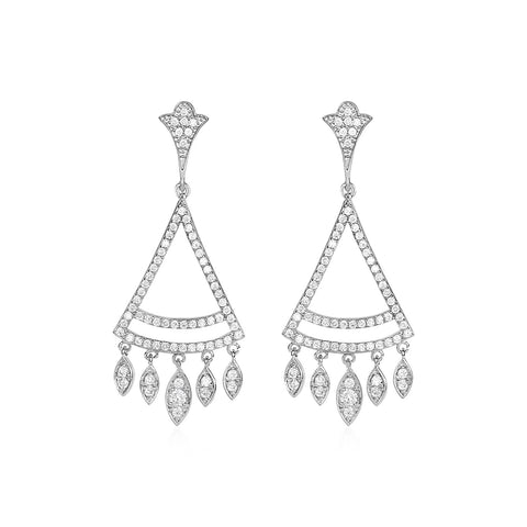 Unique Modern Paris Style Geometric Chandelier Earrings with Cubic Zirconia in Sterling Silver