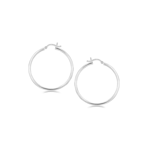 Sterling Silver Rhodium Plated Thin and Polished Hoop Style Earrings (35mm)