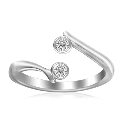 Sterling Silver Rhodium Finished Open Style Cubic Zirconia Accented Toe Ring - Uniquepedia.com