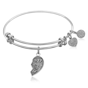 Expandable Bangle in White Tone Brass with Best Friends Symbol
