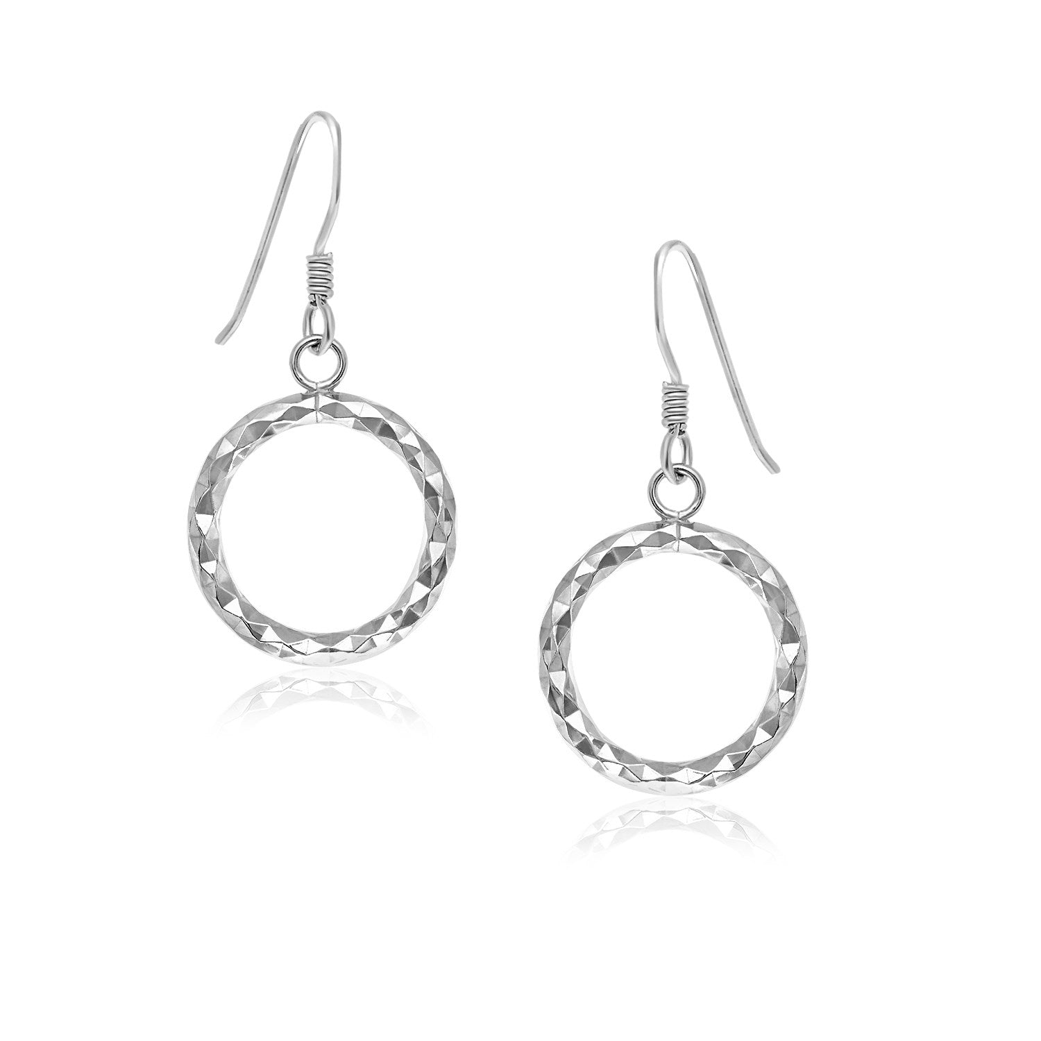 Unique Modern Paris Style Sterling Silver Textured Open Circle Drop Style Earrings