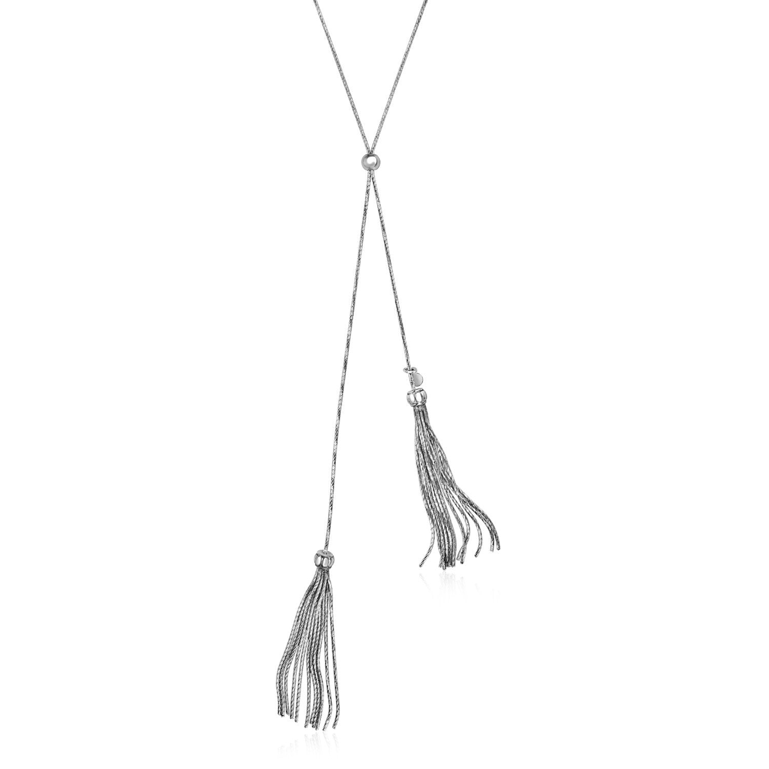 Adjustable Necklace with Tassels in Sterling Silver