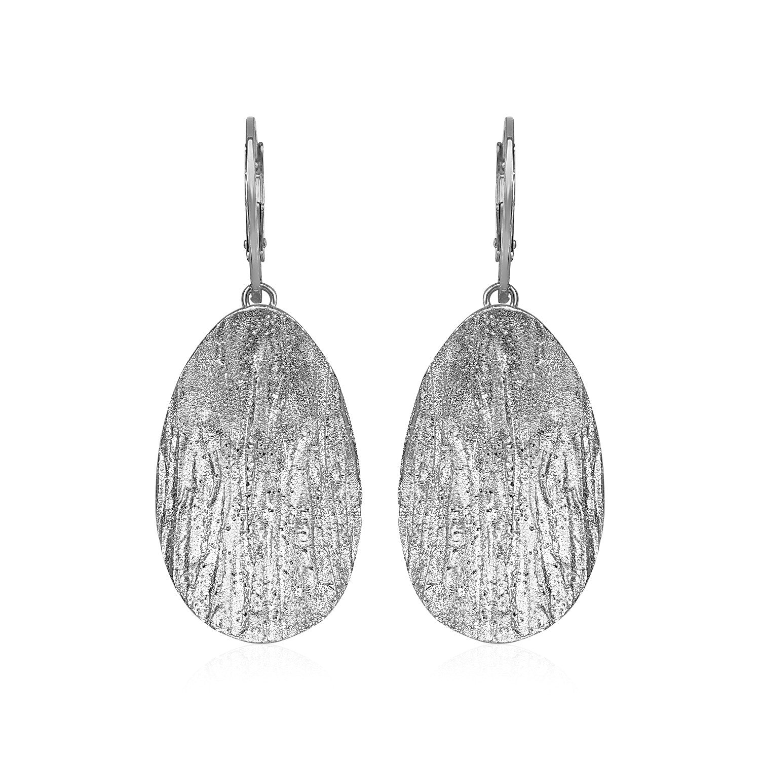 Original New York Style  Textured Oval Earrings with White Finish in Sterling Silver