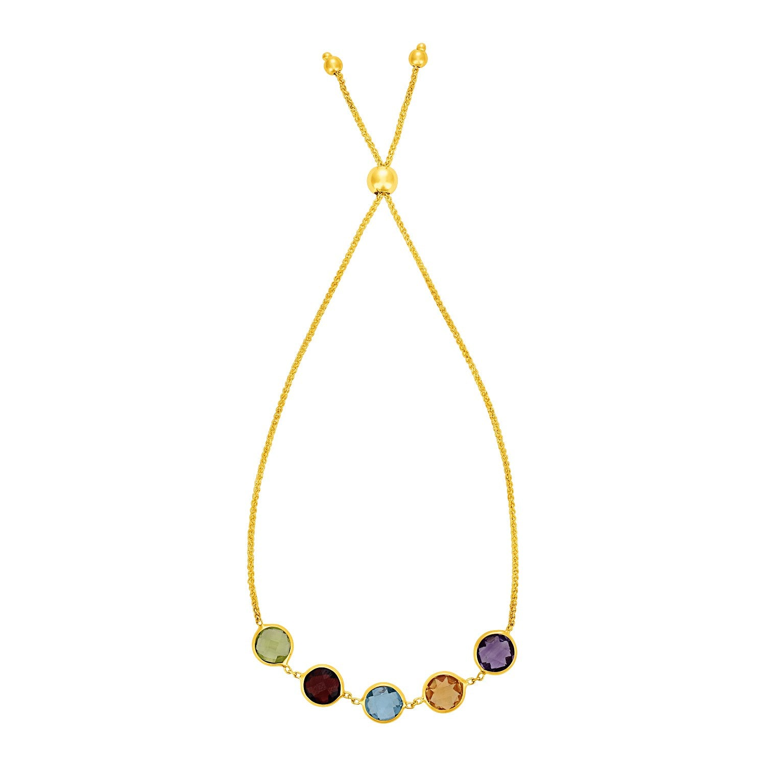 Adjustable Bracelet with Multicolored Large Round Gemstones in 14K Yellow Gold