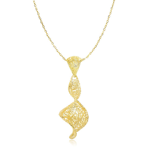 14K Yellow Gold Coiling Mesh Pendant with Diamond Cuts