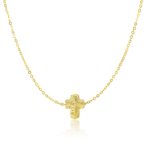 Unique Hollywood Style 14K Yellow Gold Mesh Puffed Cross Necklace