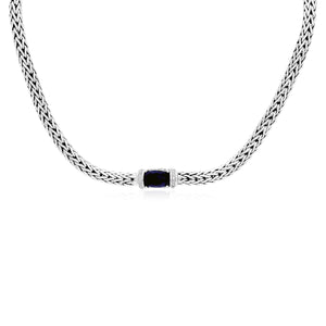 Sterling Silver Weave Necklace with Black Onyx and White Sapphires