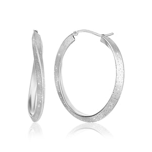 Sterling Silver Diamond Dust Twist Oval Shape Hoop Earrings