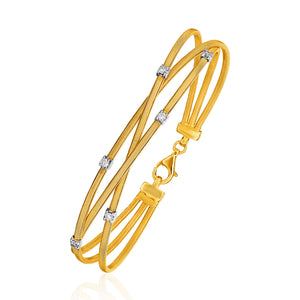Unique Luxury French Style 14K Three-Part Gold and 3pt Diamond Bangle Bracelet with Clasp (1/5 ct. tw.)
