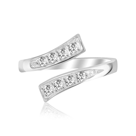 Sterling Silver Rhodium Plated Toe Ring with White Cubic Zirconia Accents - Uniquepedia.com