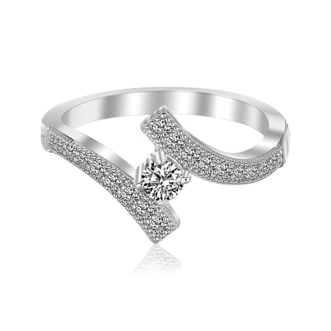 Sterling Silver Rhodium Finished Overlap Toe Ring with Cubic Zirconia Accents - Uniquepedia.com