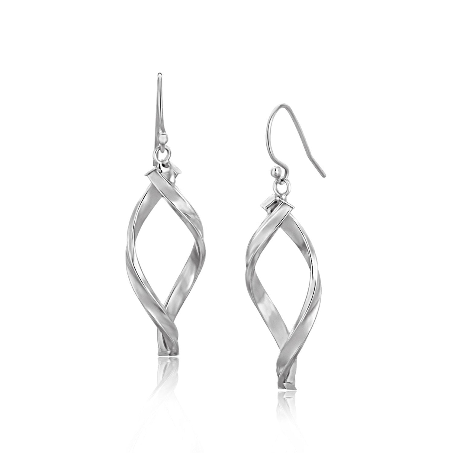 14K White Gold Twisted Freeform Oval Drop Earrings