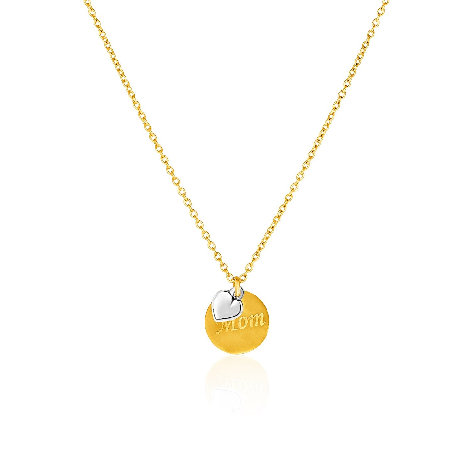 Original New York Style  14K Two-Toned Yellow and White Gold ''Mom'' and Heart Pendant