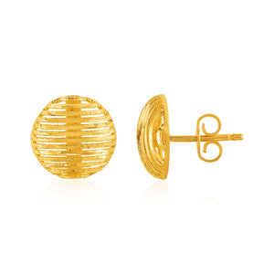 14K Yellow Gold Post Earrings with Diamond Cut Line Pattern