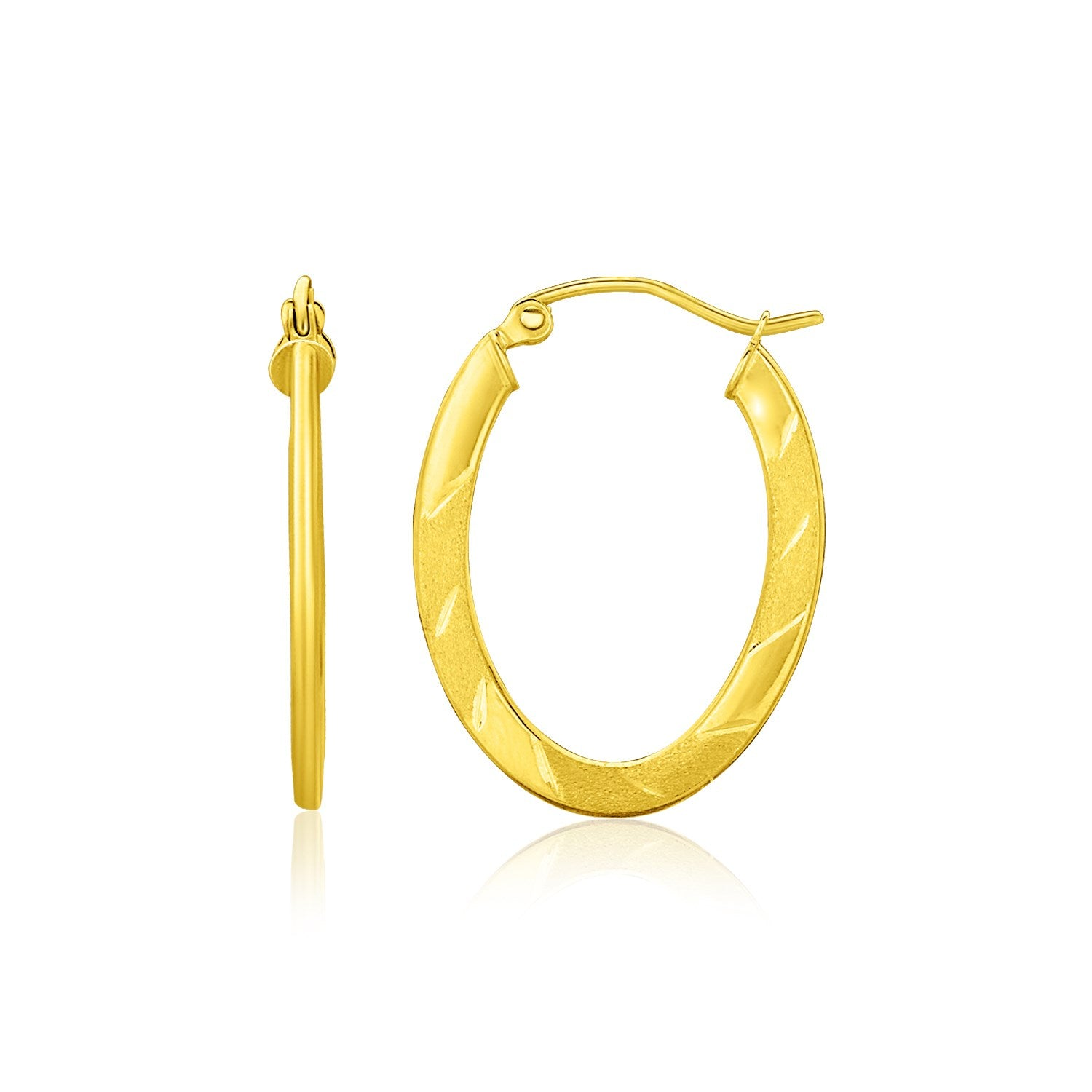 14K Yellow Gold Oval Shape Textured Hoop Earrings