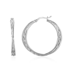 Polished and Textured Three-Part Twisted Hoop Earrings in Sterling Silver