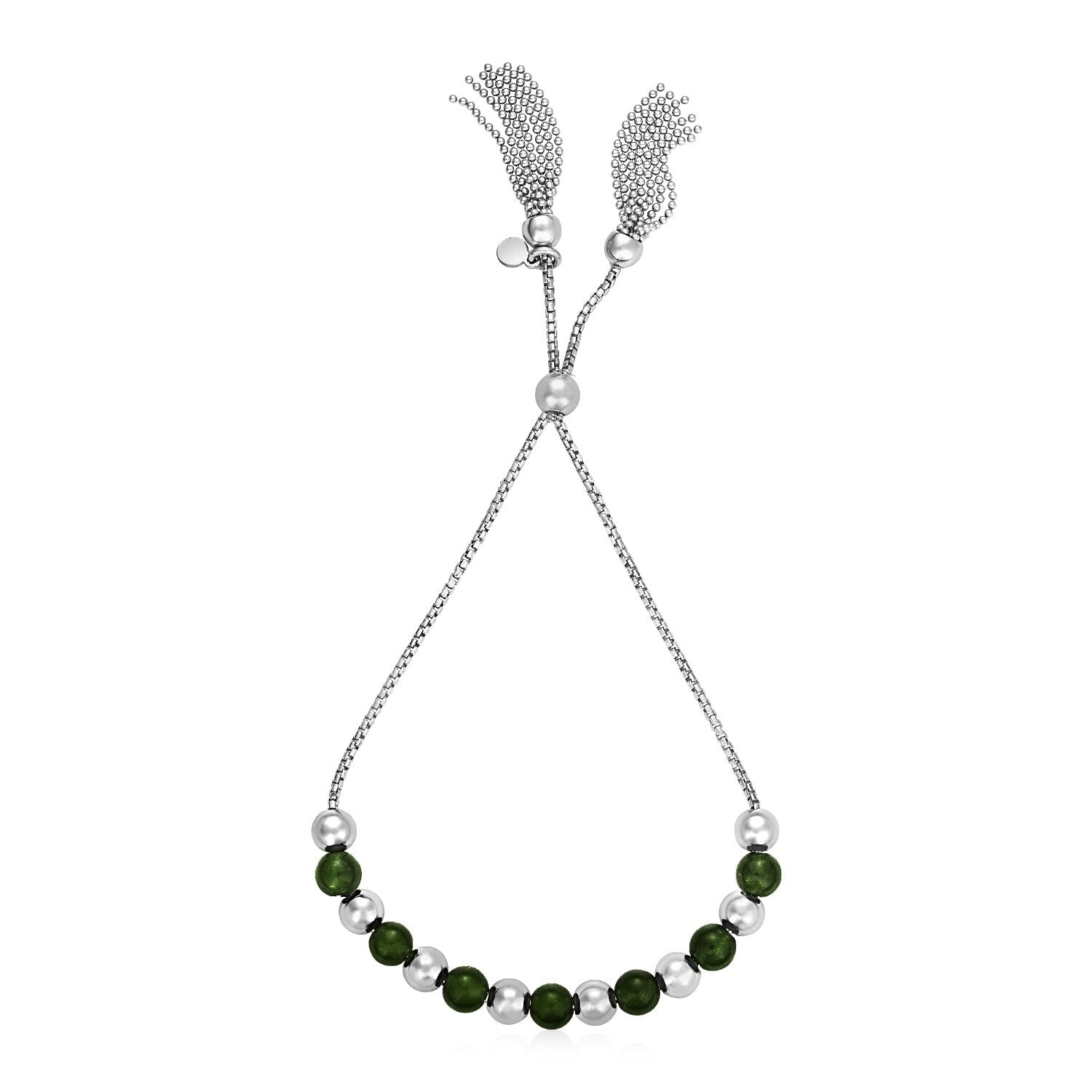 Adjustable Bead Bracelet with Green Jade in Sterling Silver