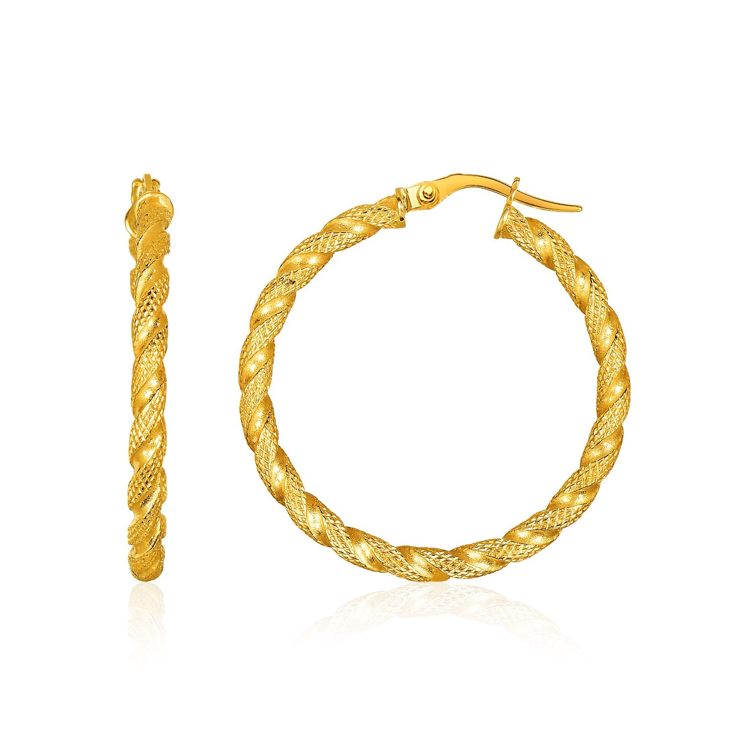 14K Yellow Gold Rope Textured Hoop Earrings
