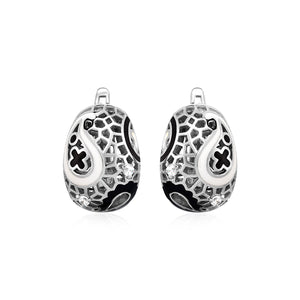 Unique Modern Paris Style Paisley Mosaic Earrings with Enamel and Cubic Zirconia in Sterling Silver