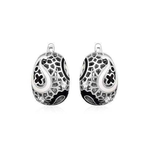 Paisley Mosaic Earrings with Enamel and Cubic Zirconia in Sterling Silver