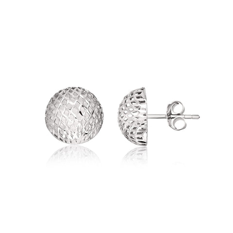 Sterling Silver Round Stud Earrings with Mesh Design