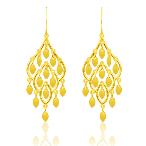 10K Yellow Gold Dangling Earrings with Marquise Sequins