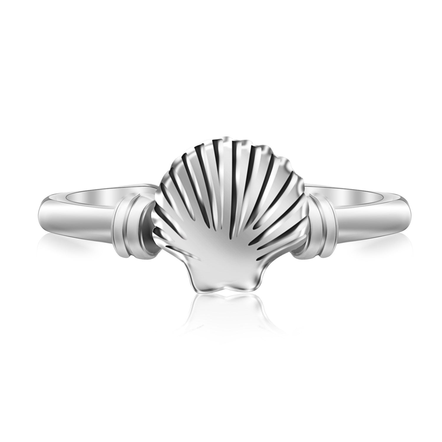 Sterling Silver Shell Motif Toe Ring with Rhodium Finishing - Uniquepedia.com