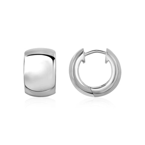 Polished Round Hoop Earrings in Sterling Silver