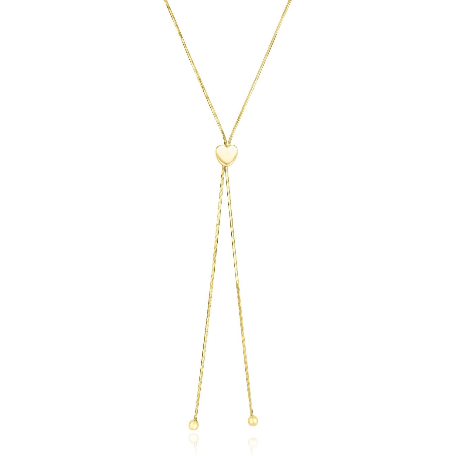Unique Hollywood Style 14K Yellow Gold Adjustable Heart Style Lariat Necklace