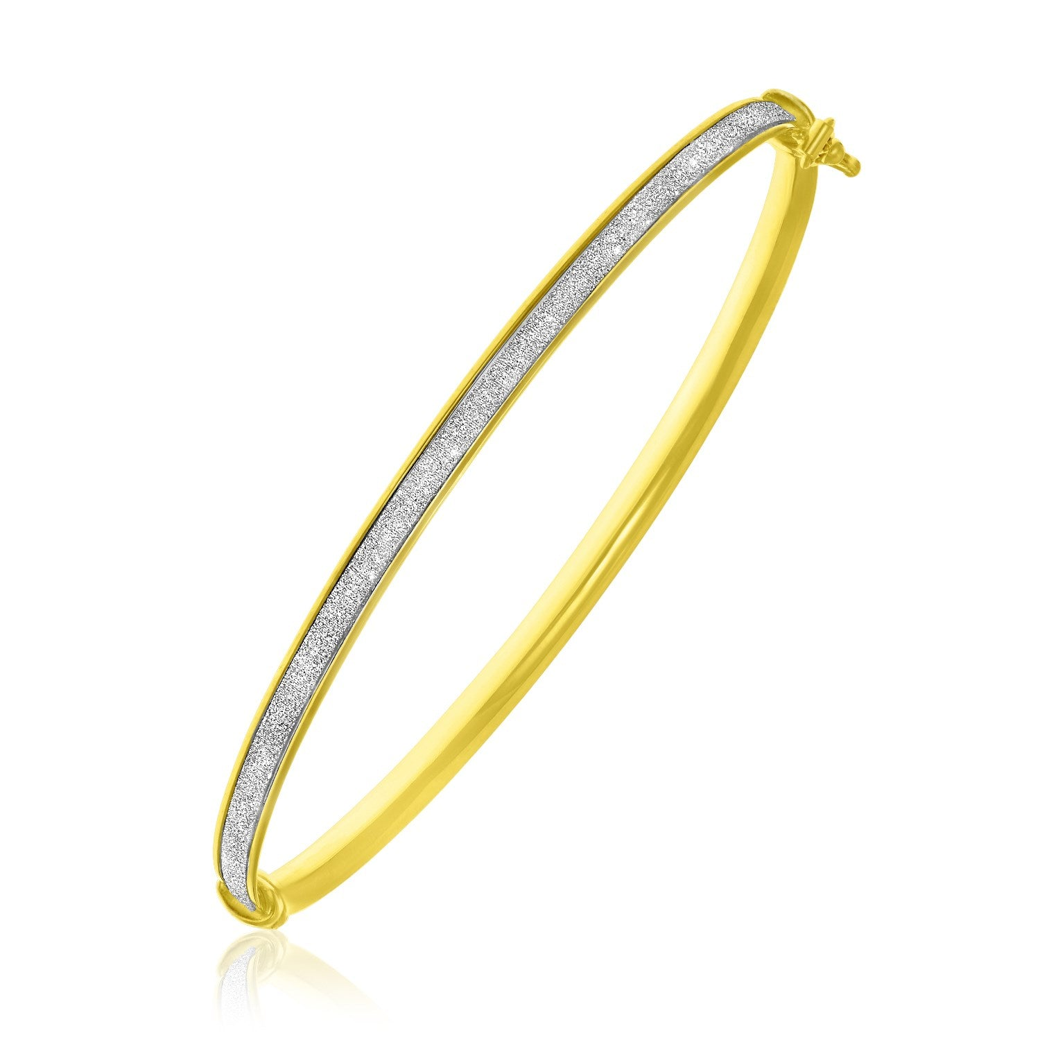 14K Yellow Gold Stackable Glitter Style Bangle