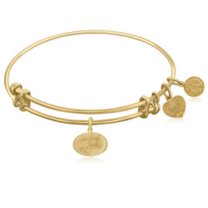 Expandable Yellow Tone Brass Bangle with Southern Belle Symbol