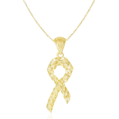14K Yellow Gold Ribbon Pendant with Textured Rope Design