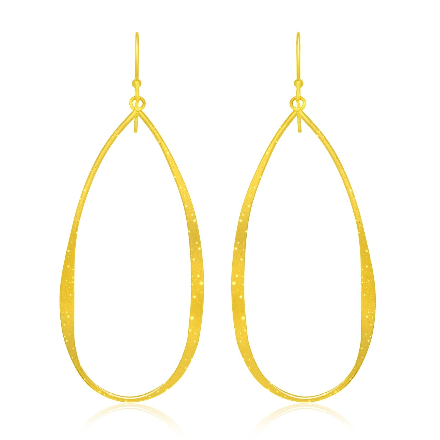 Sterling Silver Teardrop Shape Yellow Tone Stardust Dangling Earrings