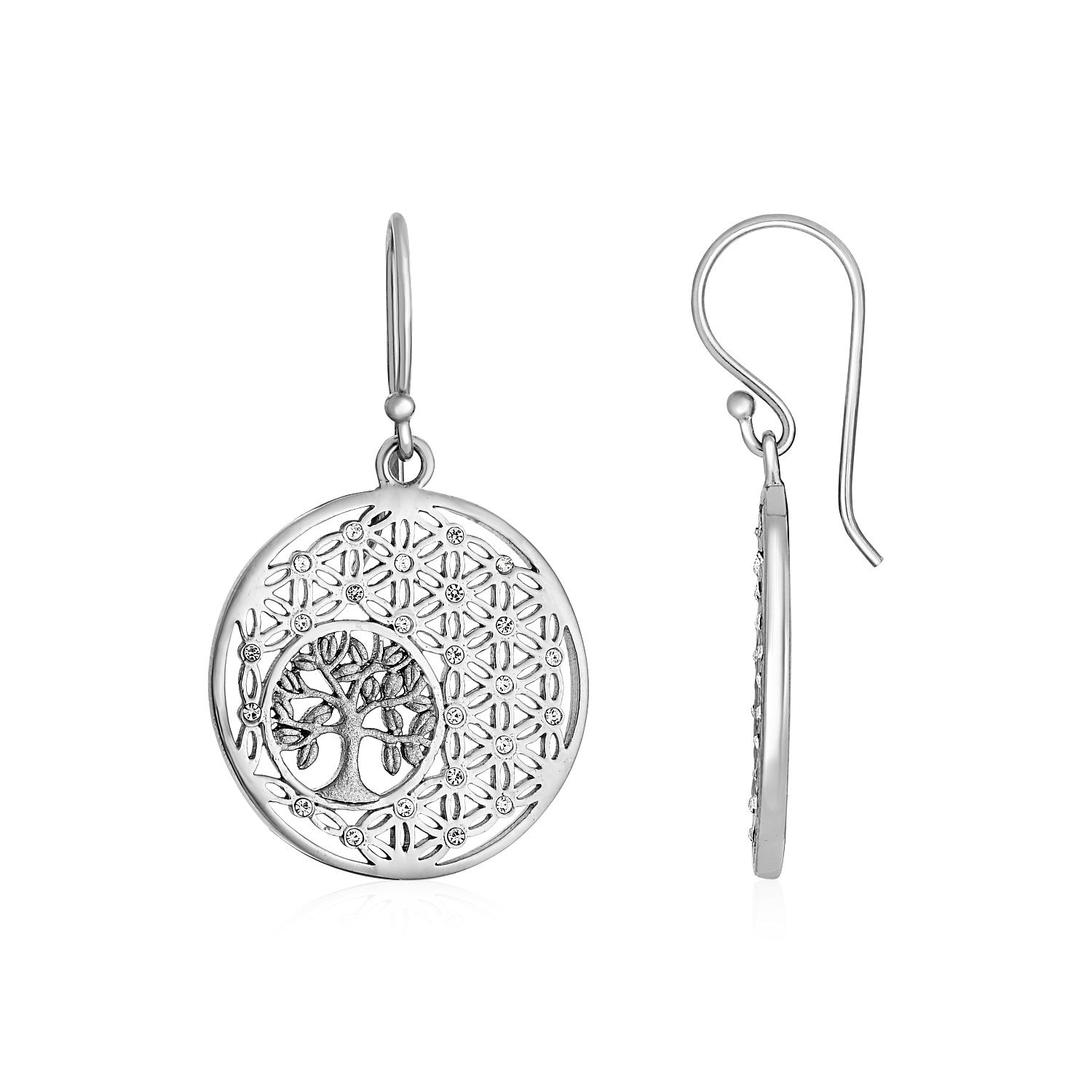 Earrings with Tree of Life and Geometric Pattern in Sterling Silver