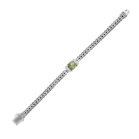 Unique Modern Monaco Style Sterling Silver Weave Bracelet with Green Amethyst and White Sapphires