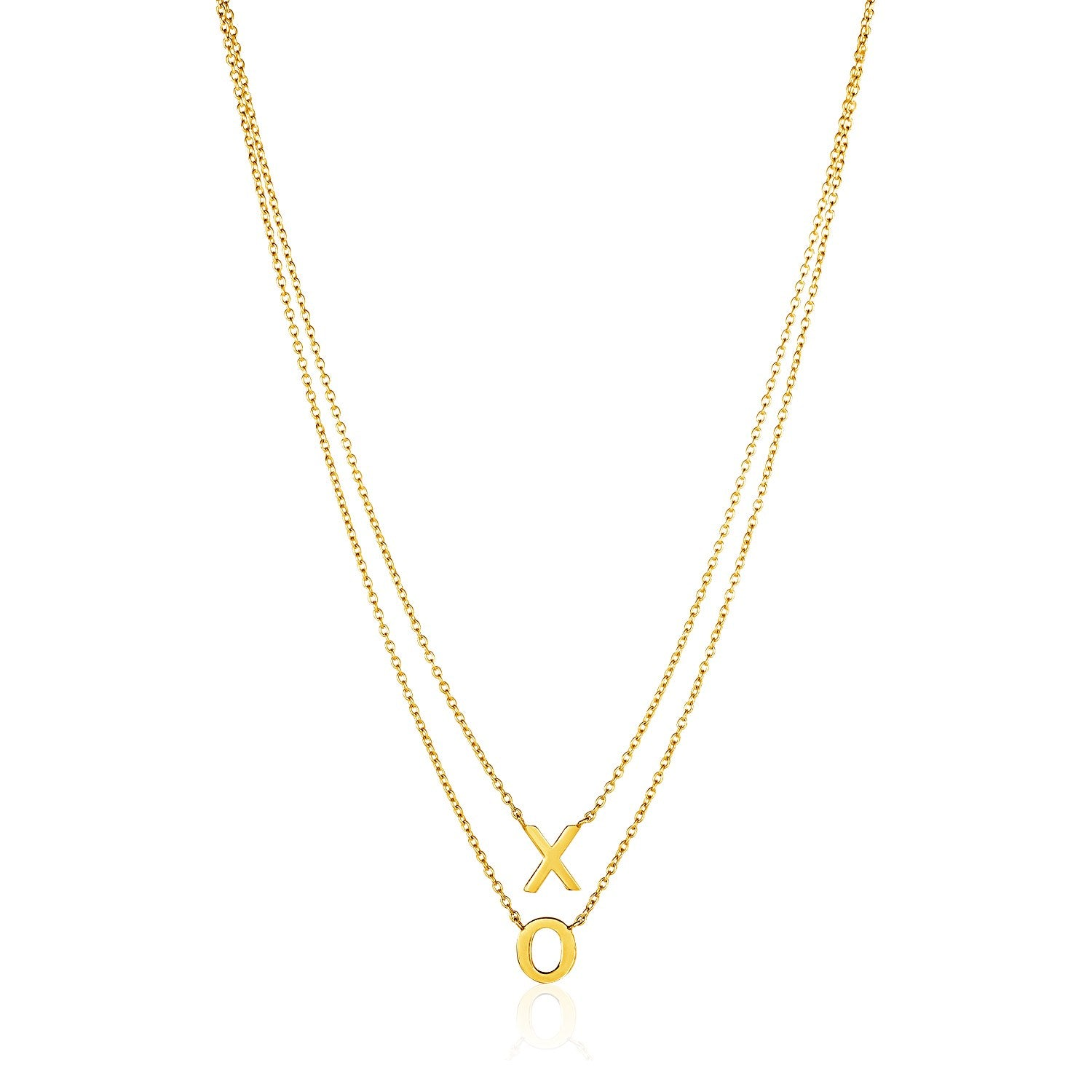 14K Yellow Gold Double-Strand Chain Necklace with ''X'' and ''O''