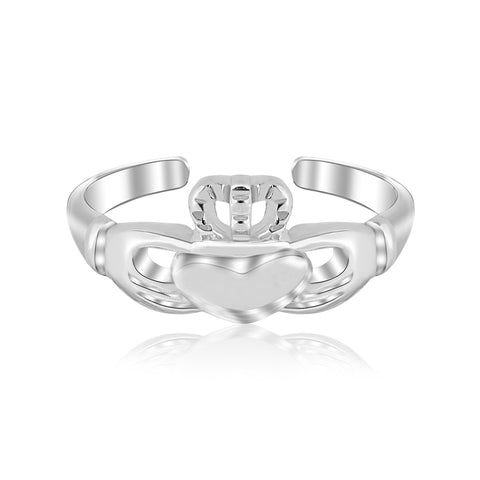 Sterling Silver Rhodium Finished Open Toe Ring with a Claddagh Design - Uniquepedia.com