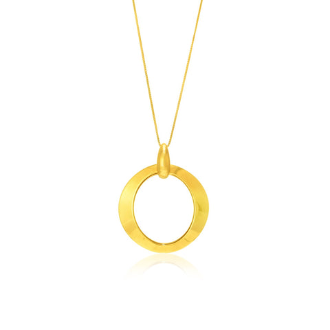 14K Yellow Gold Graduated Shiny Open Ring Pendant