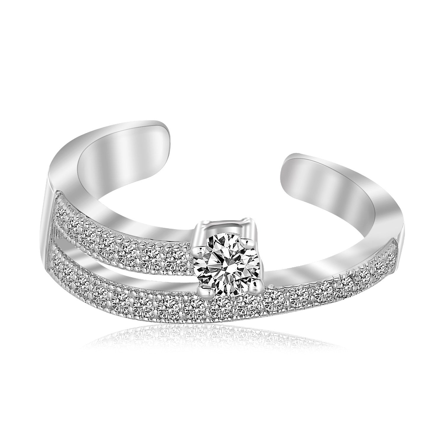 Sterling Silver Rhodium Finished White Cubic Zirconia Open Toe Ring - Uniquepedia.com