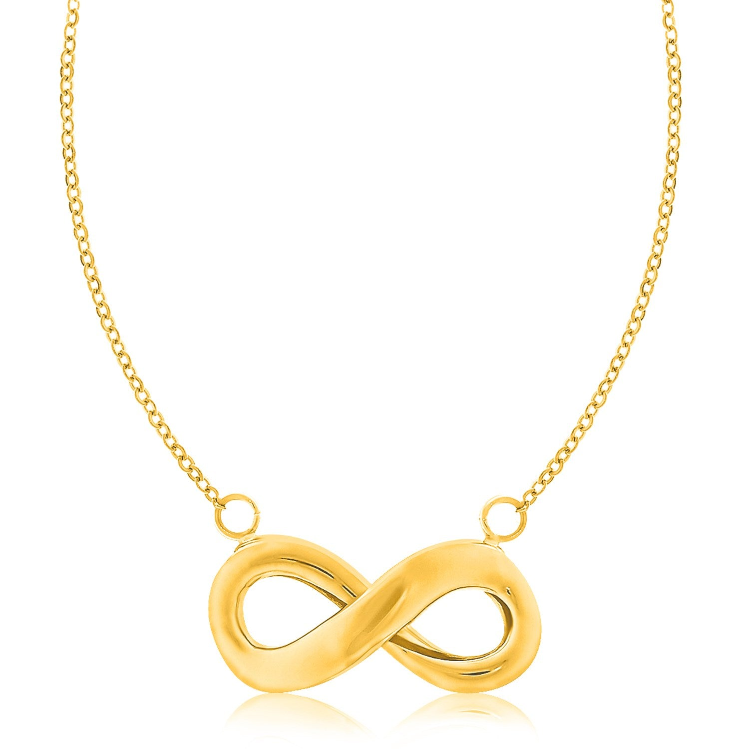 14K Yellow Gold Necklace with an Infinity Motif Accent