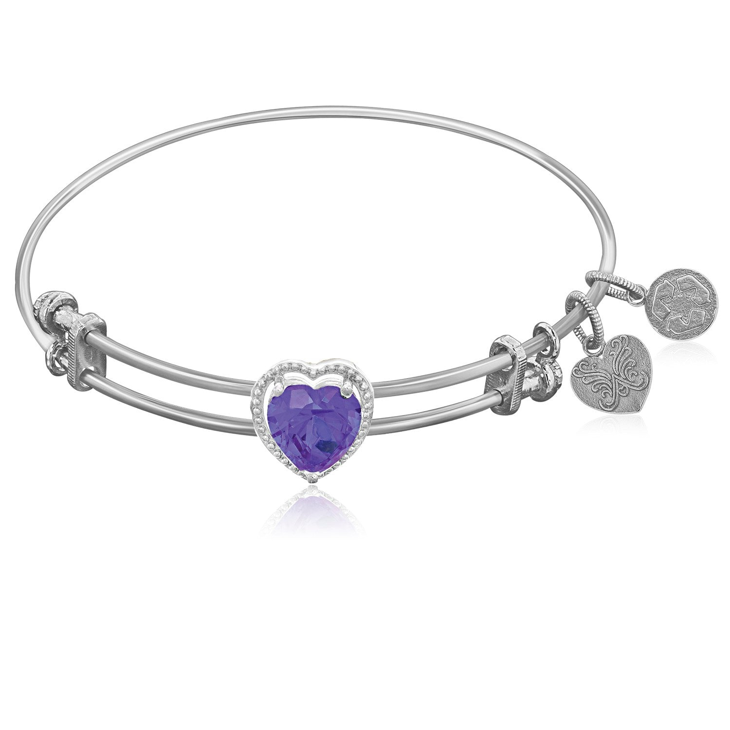 Expandable White Tone Brass Bangle with Purple CZ Heart Symbol