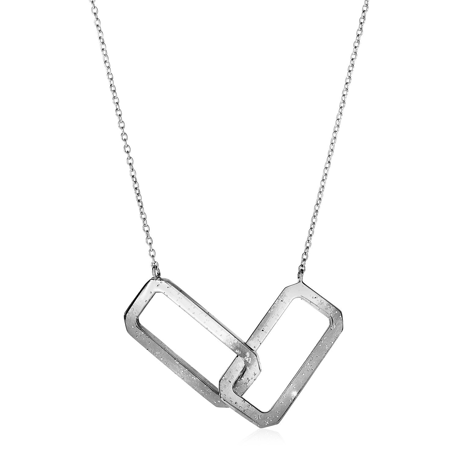 Necklace with Interlocking Open Rectangles in Sterling Silver
