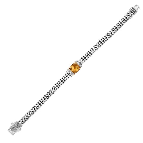 Unique Modern Monaco Style Sterling Silver Citrine and White Sapphire Accented Woven Bracelet