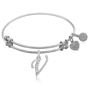 Expandable White Tone Brass Bangle with V Symbol with Cubic Zirconia