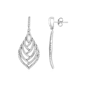 Unique Modern Paris Style Leaf Motif Drop Earrings with Cubic Zirconia in Sterling Silver
