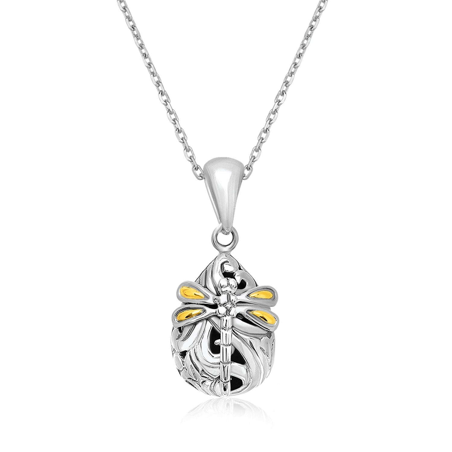 Distinctive Luxury London Style 18K Yellow Gold & Sterling Silver Dragonfly Motif Baroque Pendant