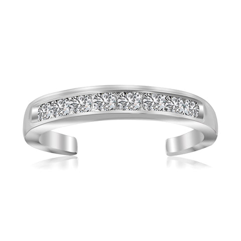 Sterling Silver Rhodium Finished Toe Ring with White Tone Cubic Zirconia Accents - Uniquepedia.com